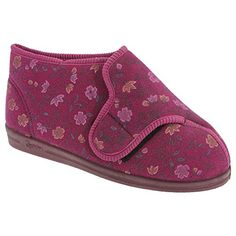 Comfylux Womens/Ladies Betty Superwide Floral Bootee Slippers (9 US) (Wine) >>> To view further for this item, visit the image link.