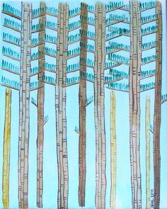 """Iñaki Lanz """"Bosque (Trilogía de la Guindalera 3"""", 2011, acuarela y tinta sobre papel, 29,5 x 23,5 cm"""