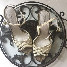 Authentic {COACH} Leather Sandals w/ Cork Heel 🎉Host Pick 6/4/2016🎉 Pre-loved beautiful platform  strappy cork 4' heel sandals are perfect for the spring /summer season. Coach shoes have all the quality and workmanship as their handbags that makes their leather goods high quality and heirloom pieces. #coach, #coachsandals Coach Shoes Heels