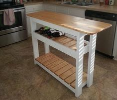 DIY Kitchen Ideas: 22 DIY Projects for the Kitchen   DIYIdeaCenter.com Kitchen Island On Wheels, Kitchen Island Cart, Kitchen Islands, Island Table, Island Bar, Wood Islands, Narrow Kitchen Island, Kitchen Carts, Kitchen Cupboards