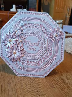 Hexigan and octagan cards Card Making Inspiration, Making Ideas, Inspiration Cards, Hexagon Cards, Tonic Cards, Spellbinders Cards, Shaped Cards, Embossed Cards, Square Card