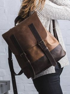 f6bbd06f9 nice leather Backpack in beautiful shades of brown Mochila Couro Castanho,  Mochila Rucksack, Mochila