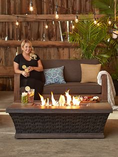 Monika Hibbs is staying warm this summer with the CANVAS Walden Conversation Gas Fire Table