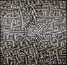 Bambatu Napangardi This painting depicts the paths travelled by ancestral ceremonial women, as they moved between the waterholes of Wirrulunga, Central Australia to the Papunya region. In Bambatu's paintings, the concentric circles represent waterholes, and the parallel dotted lines represent the path travelled.
