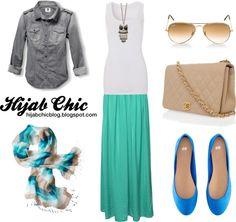 """Hijab style inspiration: denim shirt style"" by vanillagurl88 on Polyvore"
