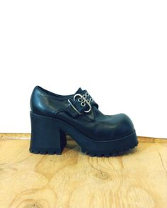 124e34e5f99 90s Black Chunky Platform Ankle Boots Oxfords   harness buckle strap    Womens   1990s black grunge 90s goth biker motorcycle