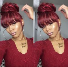 HAIRSPIRATION Love this style on deeplyrootedd Faux bangs and a messy bun voiceofhair My Hairstyle, Bun Hairstyles, Quick Weave Hairstyles, Fashion Hairstyles, Summer Hairstyles, Wedding Hairstyles, Love Hair, Gorgeous Hair, Faux Bangs