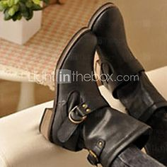Women's Spring / Fall / Winter Round Toe / Motorcycle Boots Leatherette Casual Chunky Heel Buckle Black / Brown 2016 - $26.99