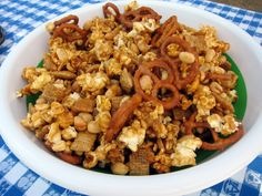 Sweet and Salty Party Mix (If you look closely, you can see that the bowl is a Pampered Chef collapsible bowl! Appetizer Recipes, Snack Recipes, Appetizers, Easy Recipes, Pampered Chef Recipes, Tailgating Recipes, Salty Snacks, Party Mix, Chex Mix