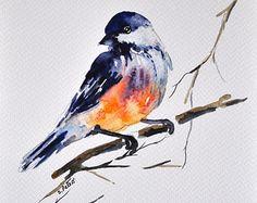 Oiseaux sur une branche les oiseaux aquarelle par ArtCornerShop