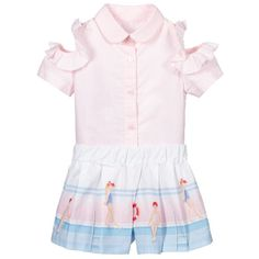 Cotton Blouses, Cotton Shorts, Blue Shorts, White Shorts, Pink Girl, Pink Blue, Girls Blouse, Ruffle Collar, Outfit Sets