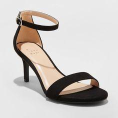 Women's Casidee Faux Leather Stiletto Heeled Pumps - A New Day™ Black 6 Black Stiletto Heels, Black Stilettos, High Heels, Mid Block Heel Sandals, Fashion Heels, Leather, Target, Black 7, Classy