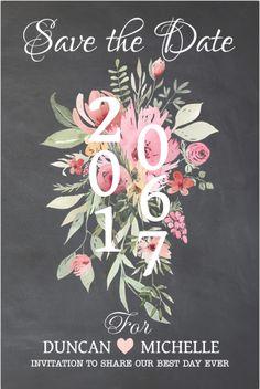 Bohemien chique save the date kaart. Met chalkboard ondergrond en bloemen in watercolourstijl. Geheel zelf aan te passen. Gratis verzending in Nederland en België.