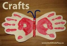 butterfly -handprint and closepin paint