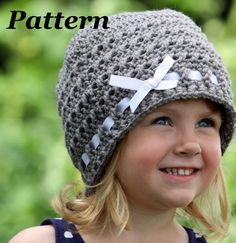 PATTERN: Crochet Ribbon Hat Crochet Winter Hat Pattern Girls Crochet Beanie Pattern Crochet Baby Hat Pattern Ribbon and Bow Hat Pattern