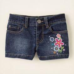 sequin embroidered denim shorts