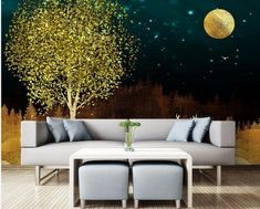 Dreamy Starry Night with Moon Tree Elk Wallpaper Wall Mural Abstract Golden Tree with Mountains Night Nursery Wall Mural Wall Decor Nursery Wall Murals, Mural Wall, Dark Blue Hallway, Golden Tree, Open Wall, Cleaning Walls, Make Design, Gray Background, Wall Wallpaper