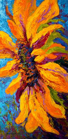 Sunflower Solo II New From My Contemporary Floral Collection!  by Marion Rose