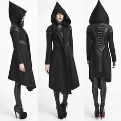 Designer Black Wool Hooded Gothic Military Trench Coats for Women SKU-11401680