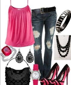Love Hot Pink and Black Outfits & Hot Pink & Black Zebra Heels Shoes With Outfit Are Phenomenal! <3