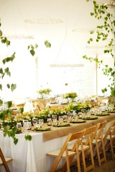 Natural Green and White Montana Reception Decor