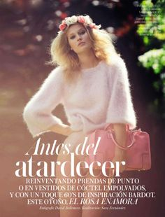 Antes del Atardecer Before Sunset Antes Fall Pink Vogue Spain Model Toni Garrn Photographer David Bellemere Styled Stylist Sara Fernandez Tr...