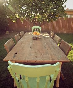 Reclaimed Wood Dining Table by MonkandHoney on Etsy.perfect fpr alfresco meals under the stars Reclaimed Wood Dining Table, Rustic Table, Farmhouse Table, Al Fresco Dining, Plantation, Dining Room Table, Dining Rooms, Outdoor Dining, Decoration