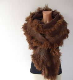 Felted scarf alpaca fur  brown wrap. #raw #wool #alpaca #felted #scarf #felting