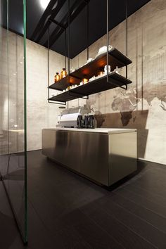 suspended shelving | industrial shelving from ceiling with an open concept kitchen