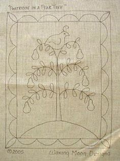 Partrige in Pear Tree Rug Hooking Pattern Punch Needle Patterns, Felt Patterns, Embroidery Patterns, Rug Inspiration, Rug Hooking Patterns, Hand Hooked Rugs, Penny Rugs, Patch Quilt, Wool Applique