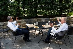 President Barack Obama has lunch with Vice President Joe Biden on the Oval Office patio, June 28, 2012.