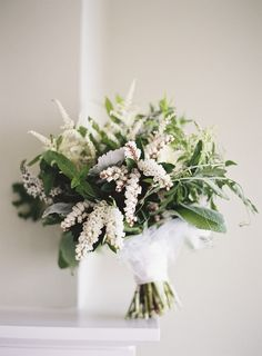 gorgeous green & white bouquets of astilbe & status  flowers <3