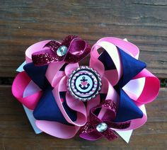 Anchor Bottle cap hair bow!! Pink, white, and navy  $7
