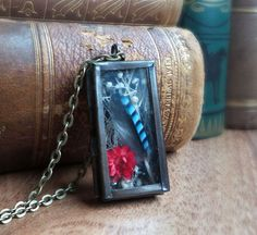 The first in my cabinet of curiosities line of locket necklaces, this one holds a blue jay feather, dry babys breath flower and a red field daisy. The