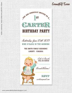 Vintage Babies First Birthday Boy  Custom by Serendipity Soiree