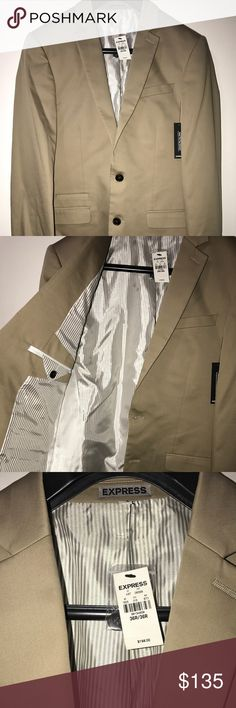 Men's Express Khakis Sateen Suit Size:36R Style # 39134659 Size:36R Color:Khaki  Put your look at the forefront with an exceptionally sleek tailored jacket in a trend-right clay tone. With the matching pant and vest, this cotton sateen suit jacket is as sharp as they come.  cut narrow for a contemporary look Narrow notch lapels, two button front, long sleeves Welt chest pocket, flap hand pockets 3 interior welt pockets, center back vent, fully lined Cotton/Polyester/Spandex; Polyester lining…