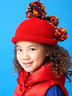 Free Pattern - Pompom Beanie for kids, #knit in Bernat Softee Chunky