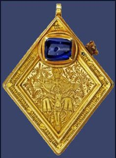 The Middleham Jewel, a fifteenth century gold diamond-shaped pendant with a blue sapphire at the top which was found on a bridle path near the Castle in 1985, by Ted Seaton. One side of the diamond shaped pendant is engraved with a representation of the Trinity and the other with a Latin inscription indicating that the pendant is a charm against epilepsy. It has been dated back to the fifteenth century to around the lifetime of Middleham Castle's most famous occupant, Richard III.