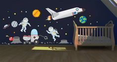 Is your little one or you fascinated with the outer space? Decorate your nursery, kids room, childrens hospital or pediatric's office with this cute 100% removable wall sticker pack. The space adventures II wall decal pack includes a sun, 2 planets, two astronauts, a space rover, alien hiding behind the crater, a crater, a small UFO, 12 random stars, 12 small rocks, 8 blue pin lights and space shuttle. Mix and match the elements however you wish.