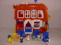 Bluebird Big Red Fun Bus, with Figures & Accessories, Classic 1980s Toy