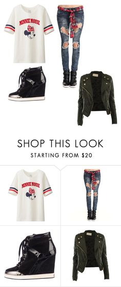 """""""Untitled #318"""" by rita-malakyan ❤ liked on Polyvore featuring Uniqlo, Almost Famous, Jimmy Choo and CO"""