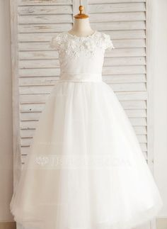 [US$ 66.49] Ball Gown Floor-length Flower Girl Dress - Satin/Tulle/Cotton/Spandex Short Sleeves Scoop Neck With Beading/Appliques…