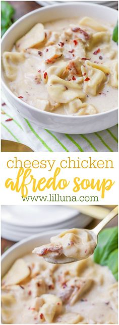 One of everyone's most favorite dinner recipes made in soup form - this Easy Chicken Alfredo Soup is full of flavor, chicken, tortellini and more!