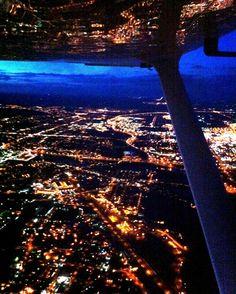 Night flight flying over CYYC in the cessna 172.