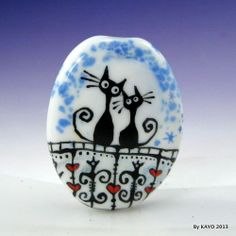 """YOU LIGHT UP MY LIFE"" byKAYO a Handmade CAT Lampwork Art Glass Focal Bead SRA"