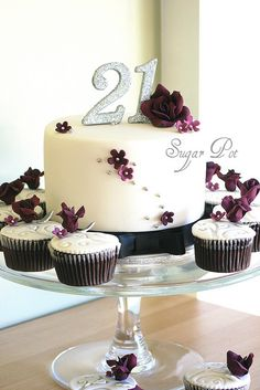 Pretty 21st Cake - More Wedding like to me. Love the elegance of the colours!