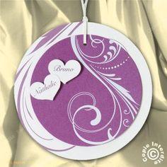 Faire-part Mariage rond violet