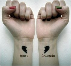 Best Friend Tattoo:  Such a great idea for a Tattoo!! It was contemplated once... #BestFriend #wrist  #Tattoo  ::)