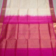 Buy SC3500007-VARNAM Handwoven Silkcotton-Bawanchi-Cream pink, 700g online - Handwoven Kanchivarams,Soft Silks, Silk Cottons and Tussars!