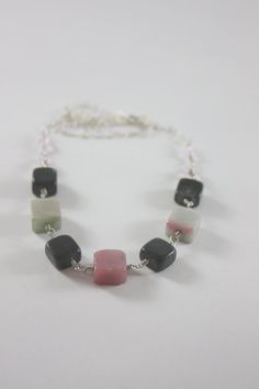 Square Pink and Black Jade Necklace by ThisNThatbyNikki on Etsy, $15.00